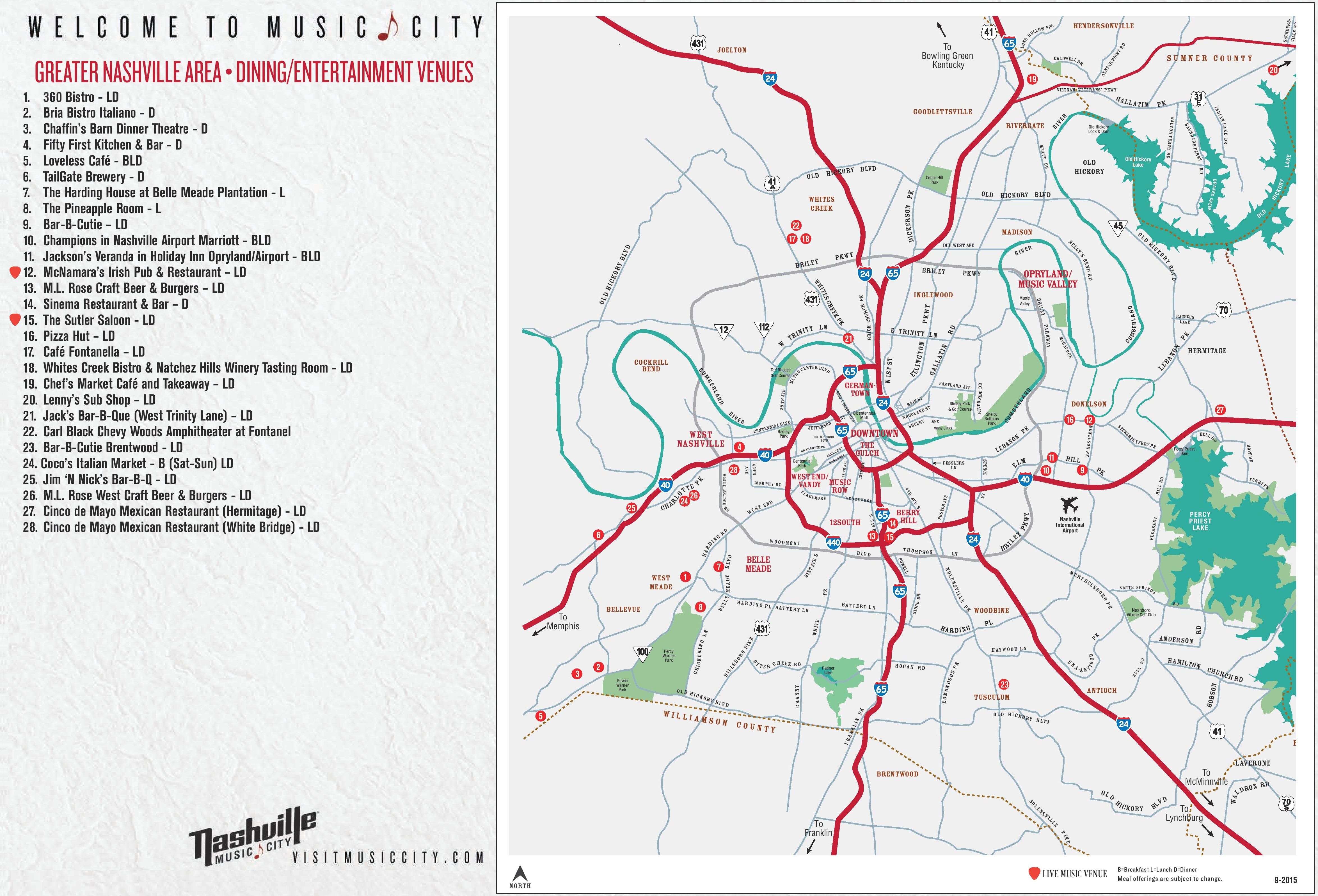 It is a photo of Printable Map of Nashville pertaining to official state tn