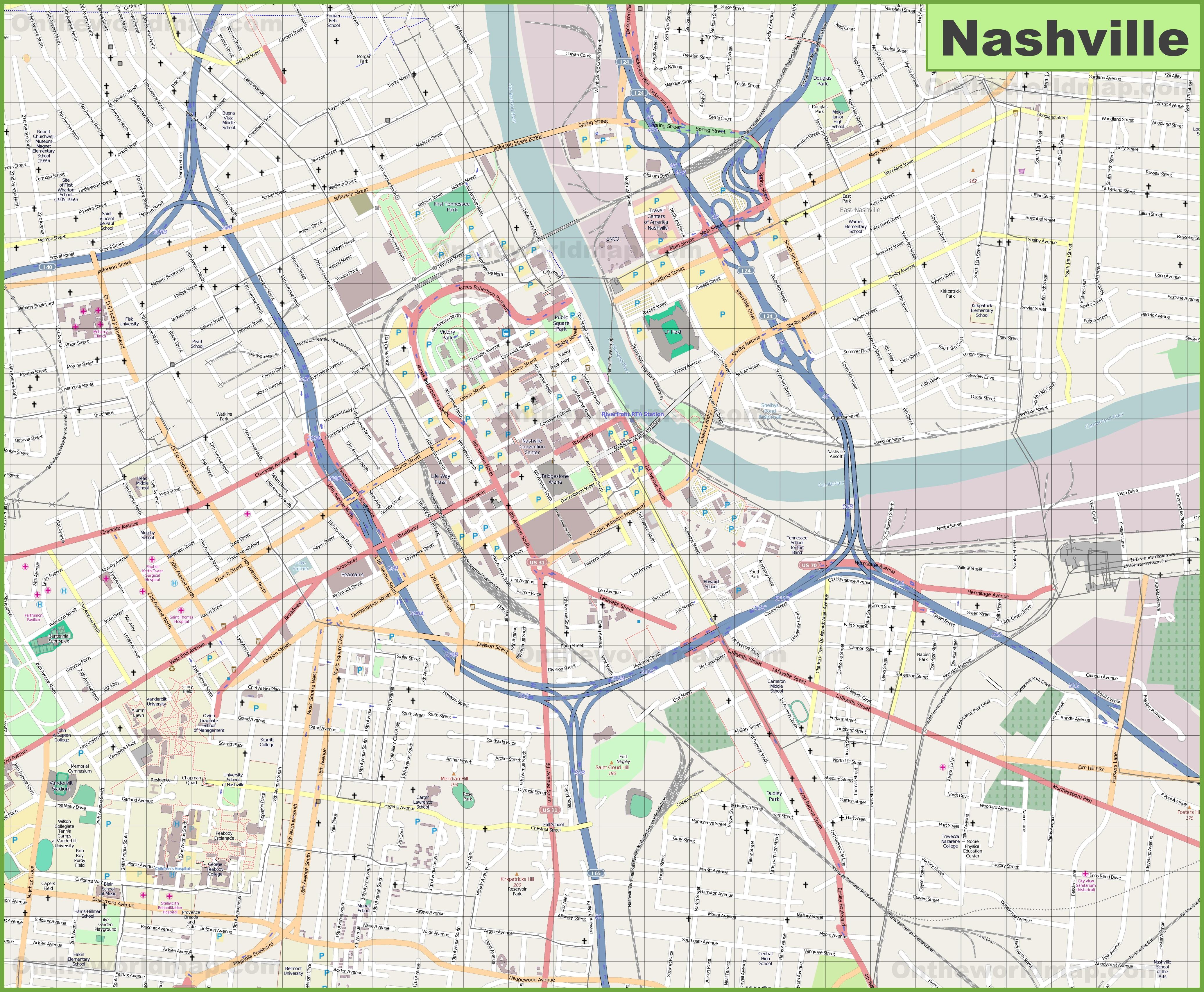 Map Of Nashville Large detailed map of Nashville Map Of Nashville