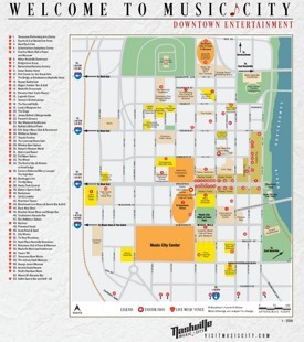 Nashville hotels and sightseeings map