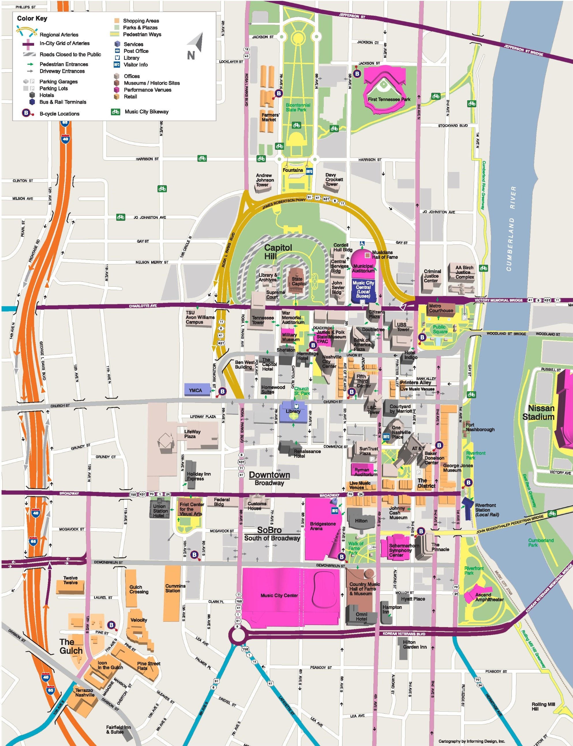 Nashville tourist attractions map – Nashville Tourist Map
