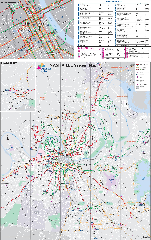 Nashville transport map