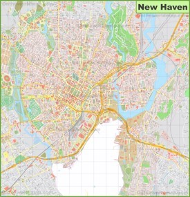 Large detailed map of New Haven