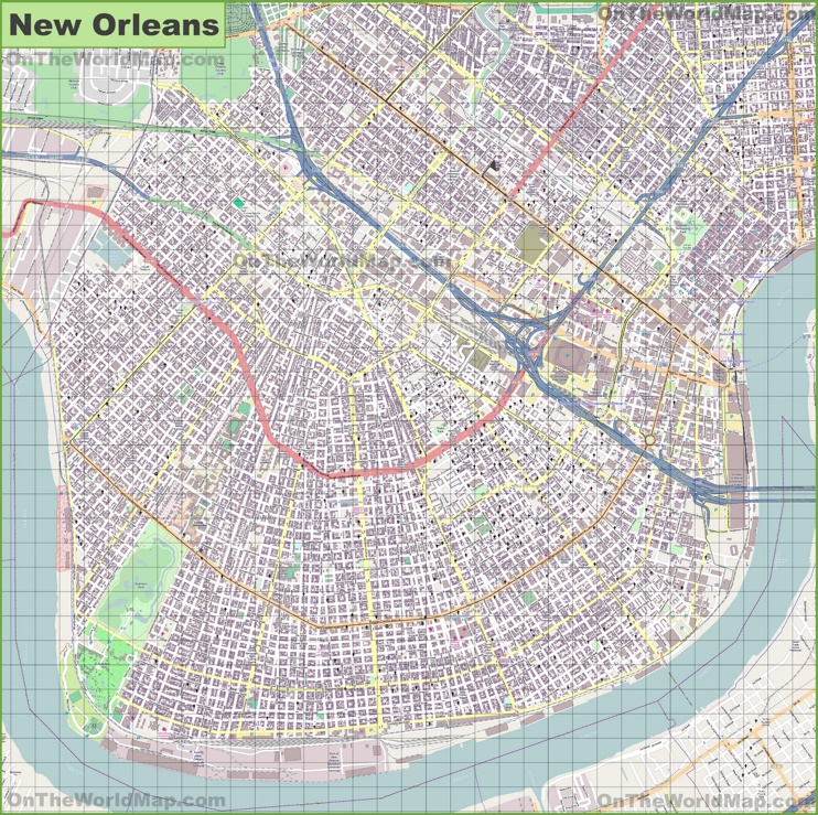Large detailed map of New Orleans