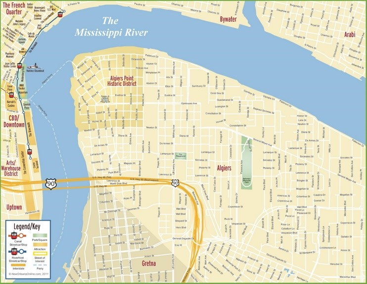 New Orleans Algiers map
