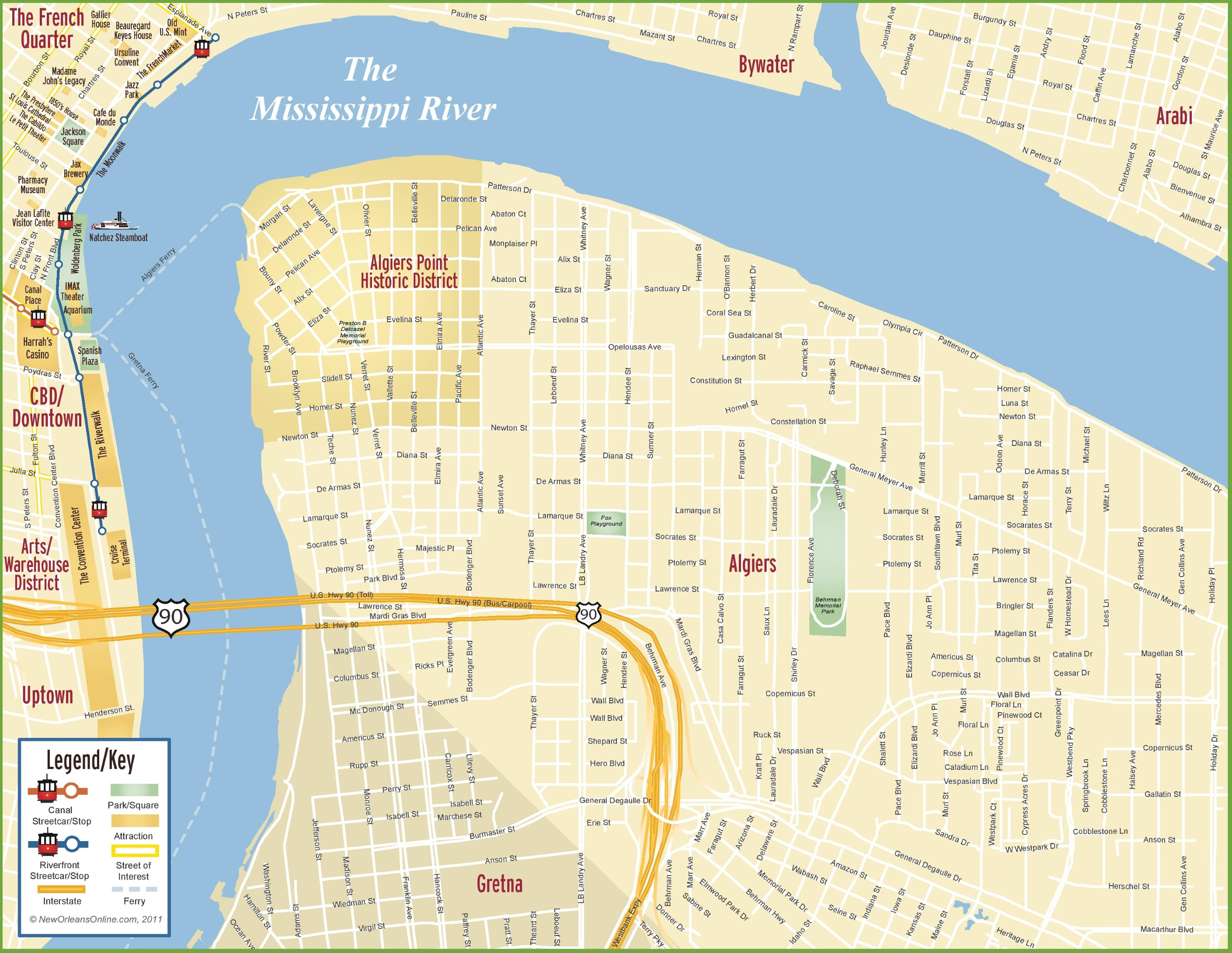 New Orleans Algiers Map - Map usa new orleans