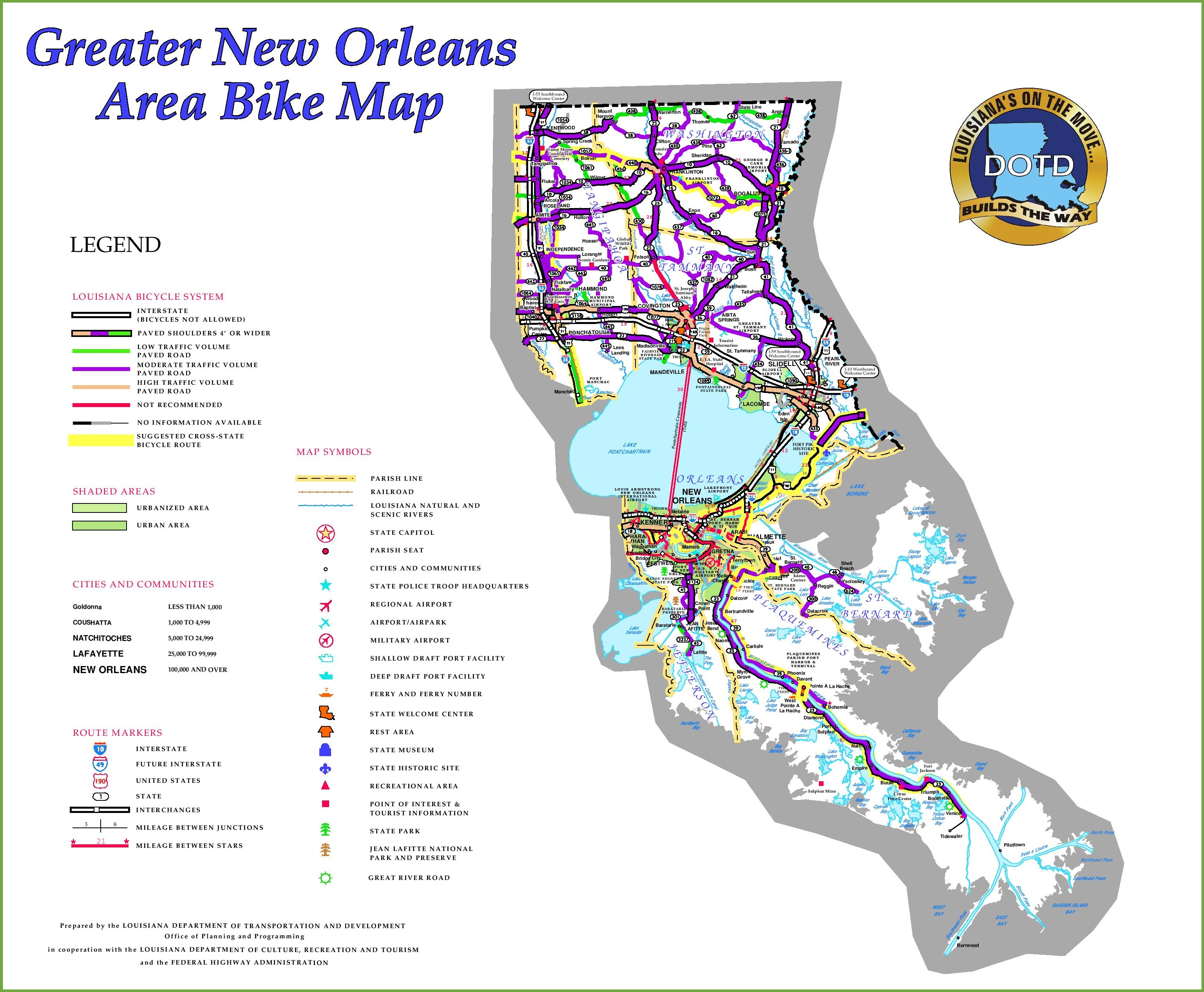 New Orleans area bike map