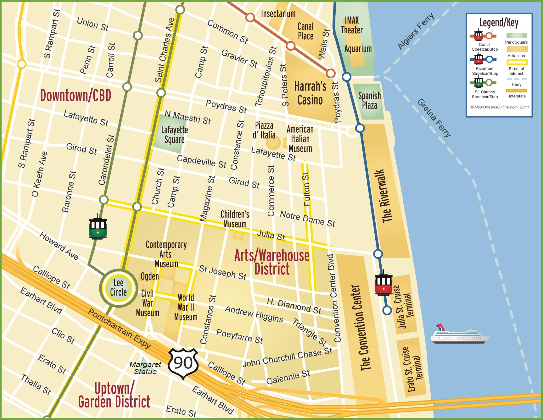 New Orleans Arts and Warehouse District map