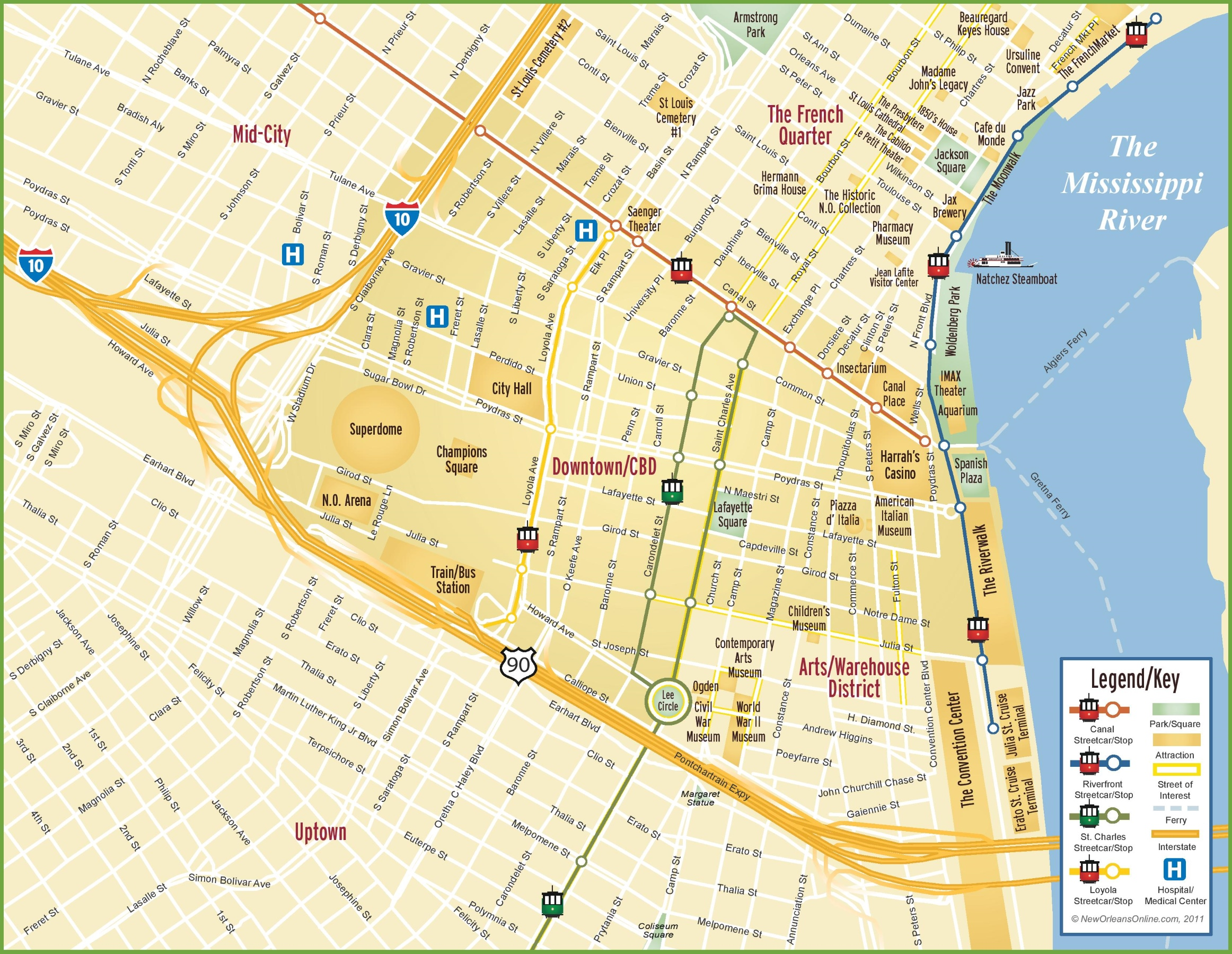 Map Of Downtown New Orleans New Orleans CBD and downtown map