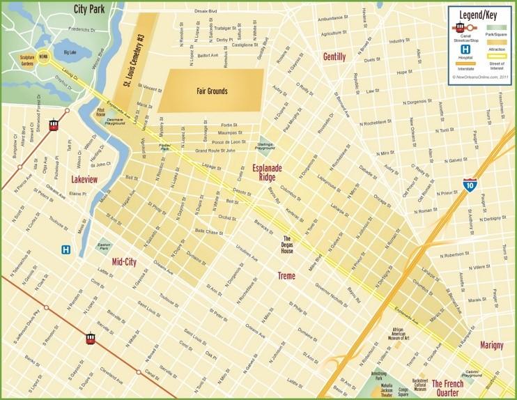 New Orleans Esplanade Ridge map