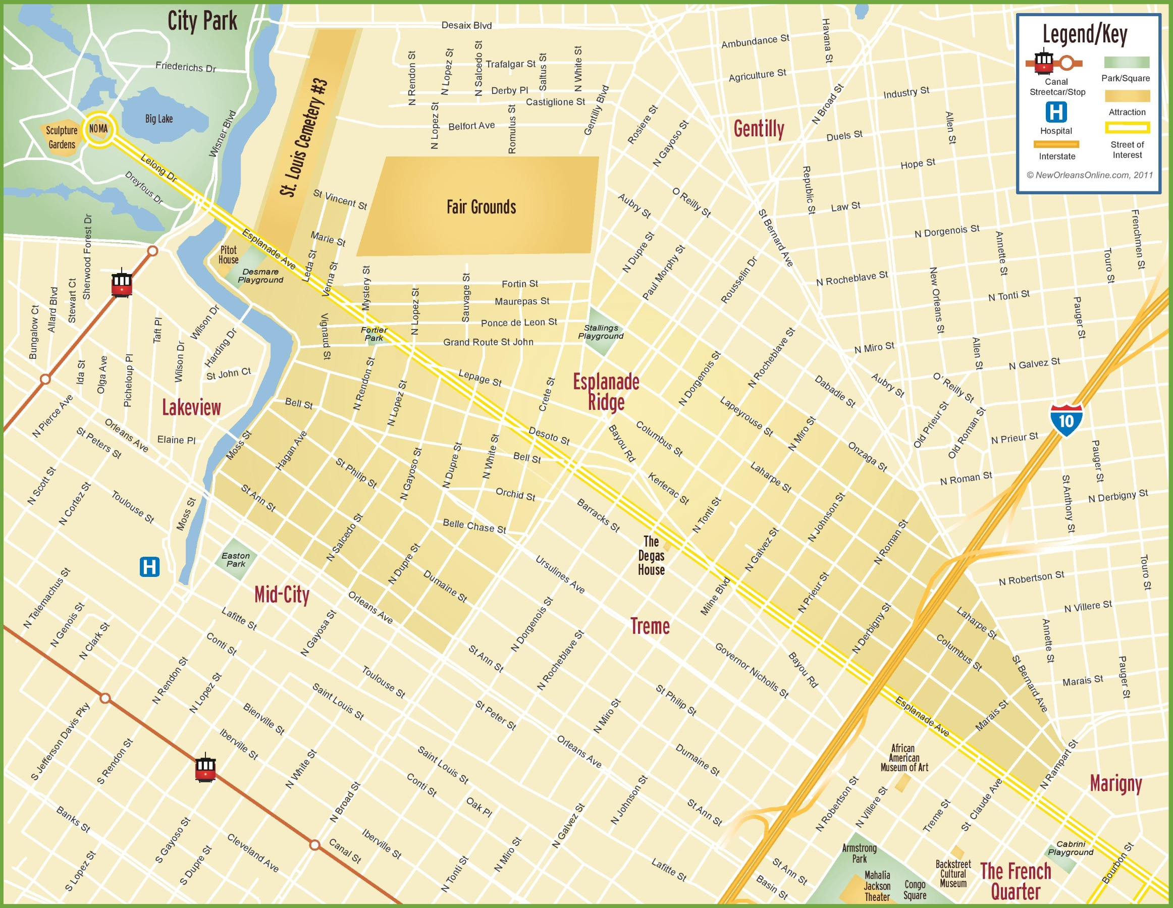 New Orleans Esplanade Ridge Map - New orleans usa map