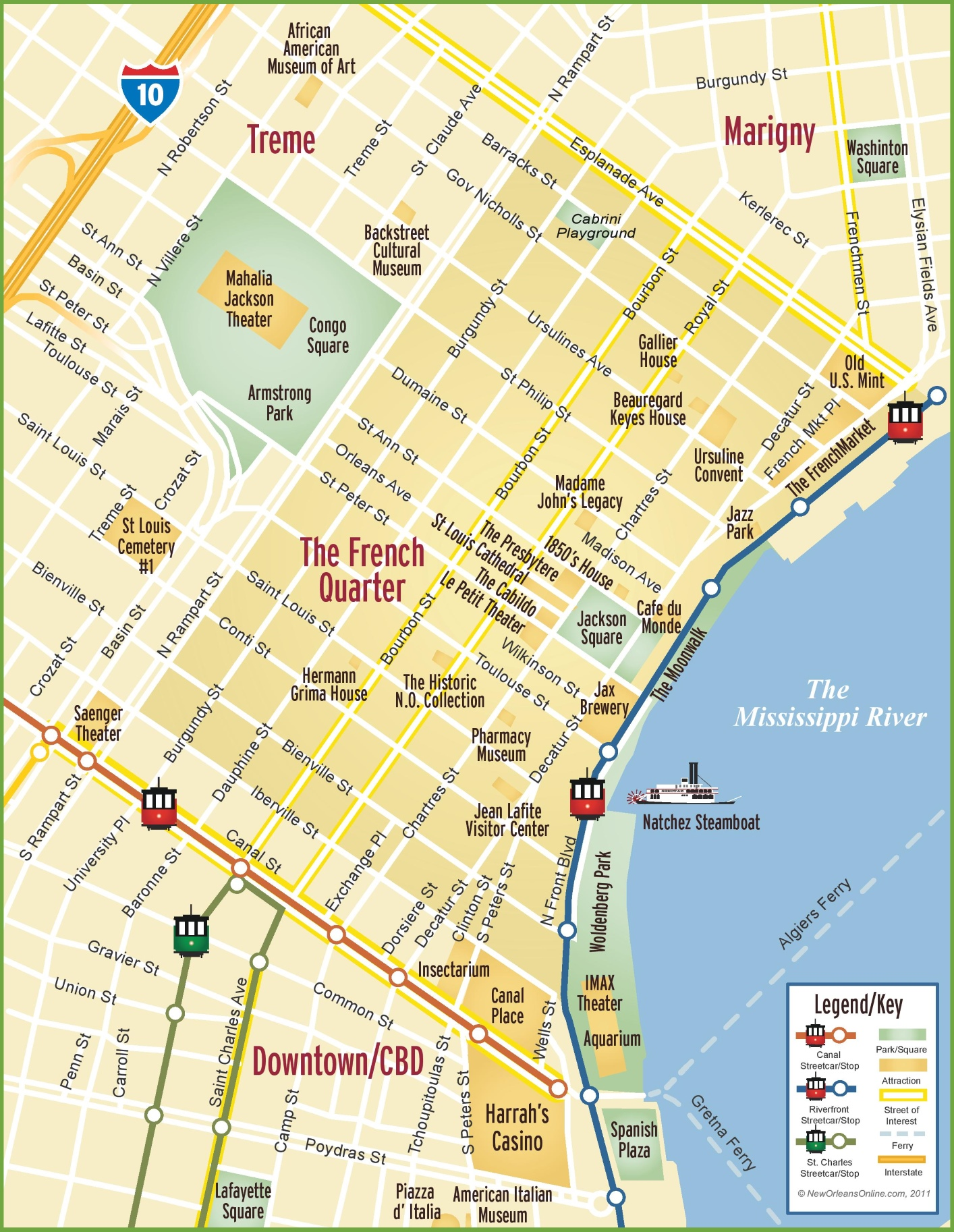 New Orleans French Quarter Map - New orleans in map of usa