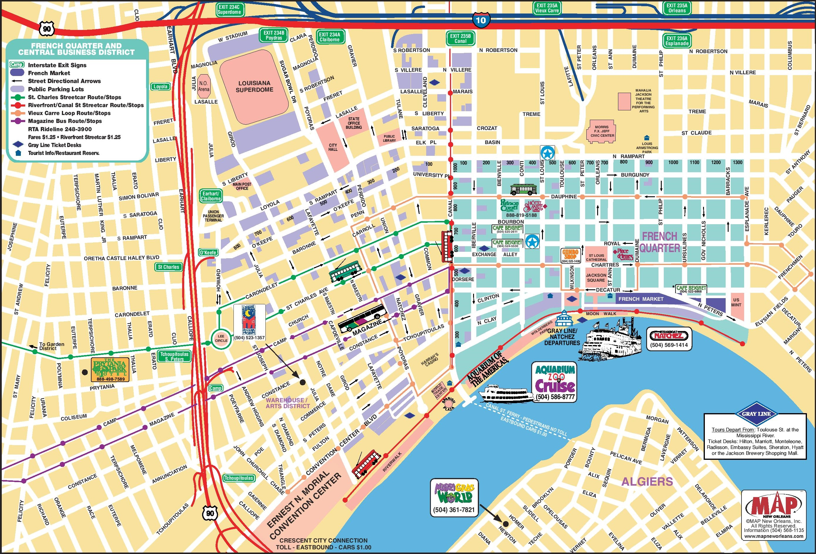 New Orleans French Quarter Tourist Map - New orleans usa map