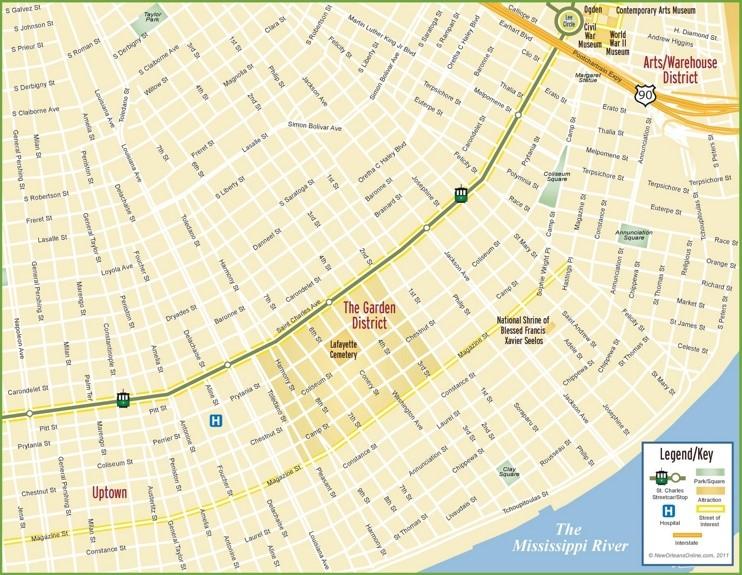 New Orleans Garden District map