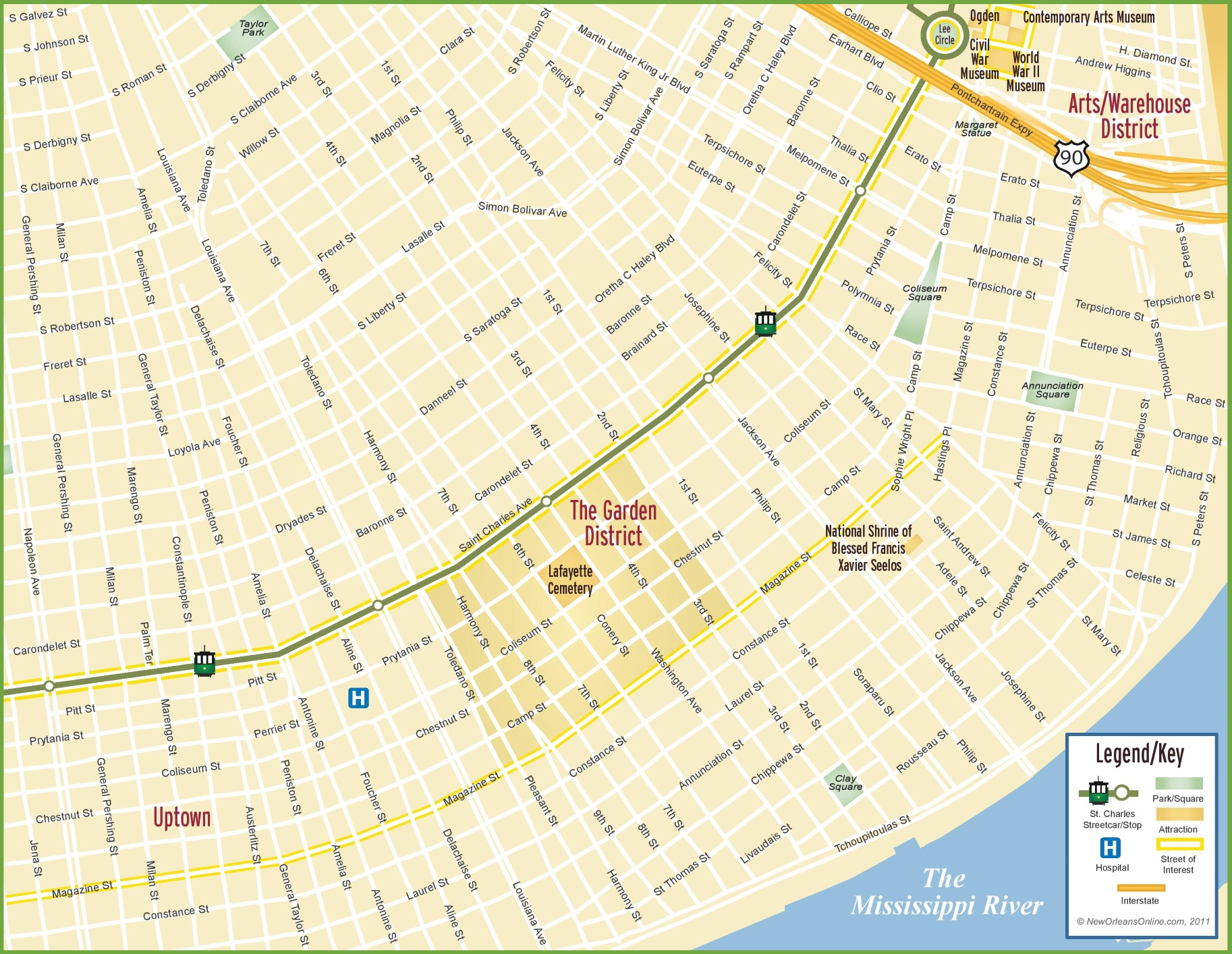 New Orleans Garden District Map - New orleans in map of usa