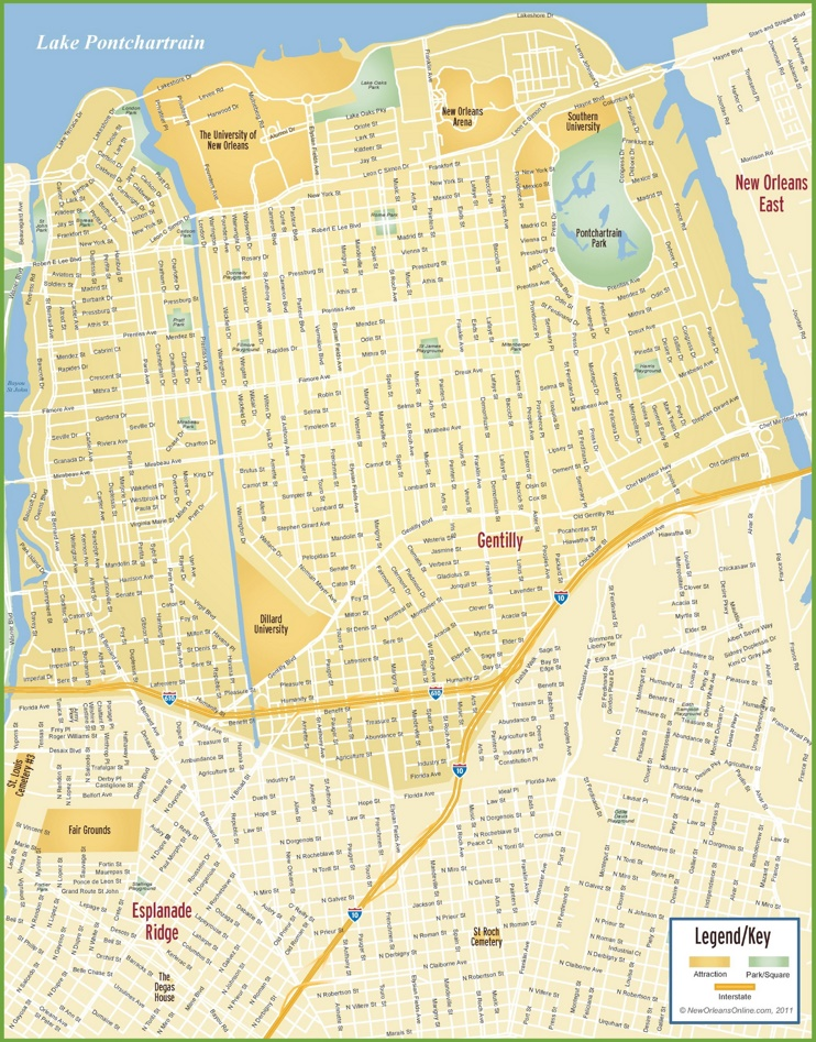 New Orleans Gentilly map