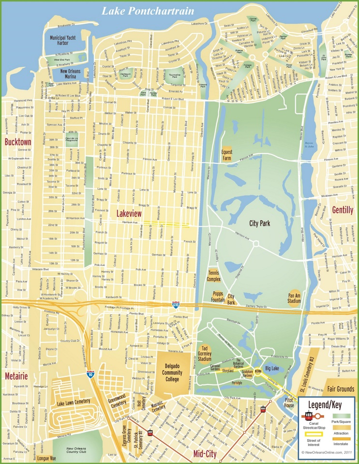 New Orleans Lakeview map