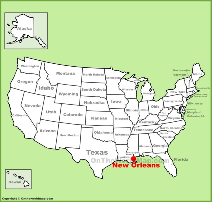 New Orleans location on the U.S. Map