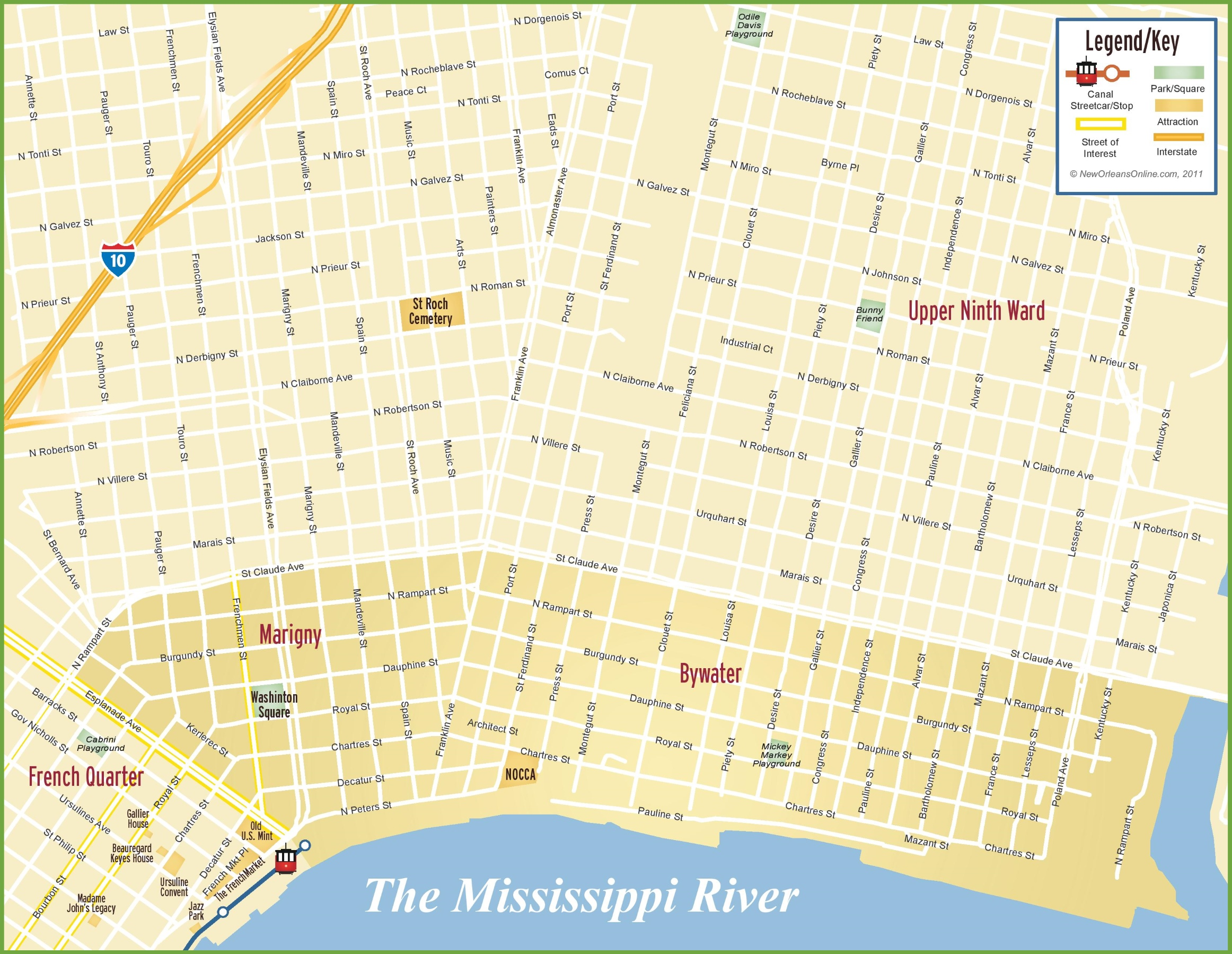 map of marigny new orleans New Orleans Marigny And Bywater Map map of marigny new orleans