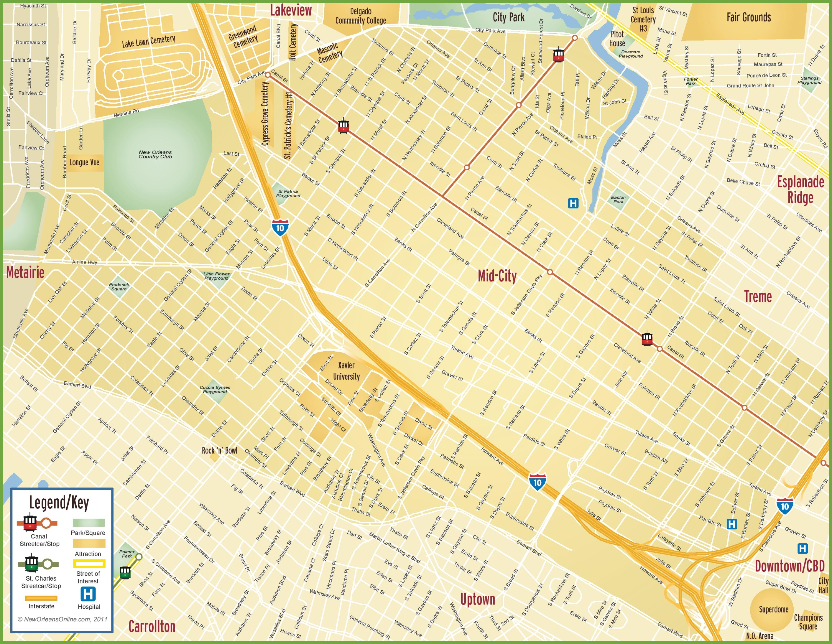 New Orleans Mid-City map on