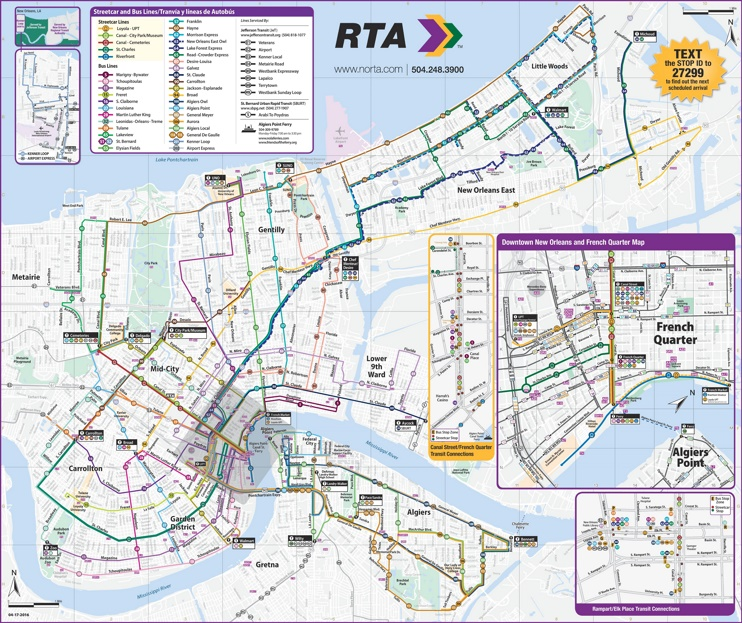 New Orleans RTA public transport map