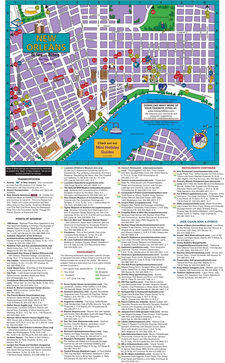 New Orleans tourist attractions map