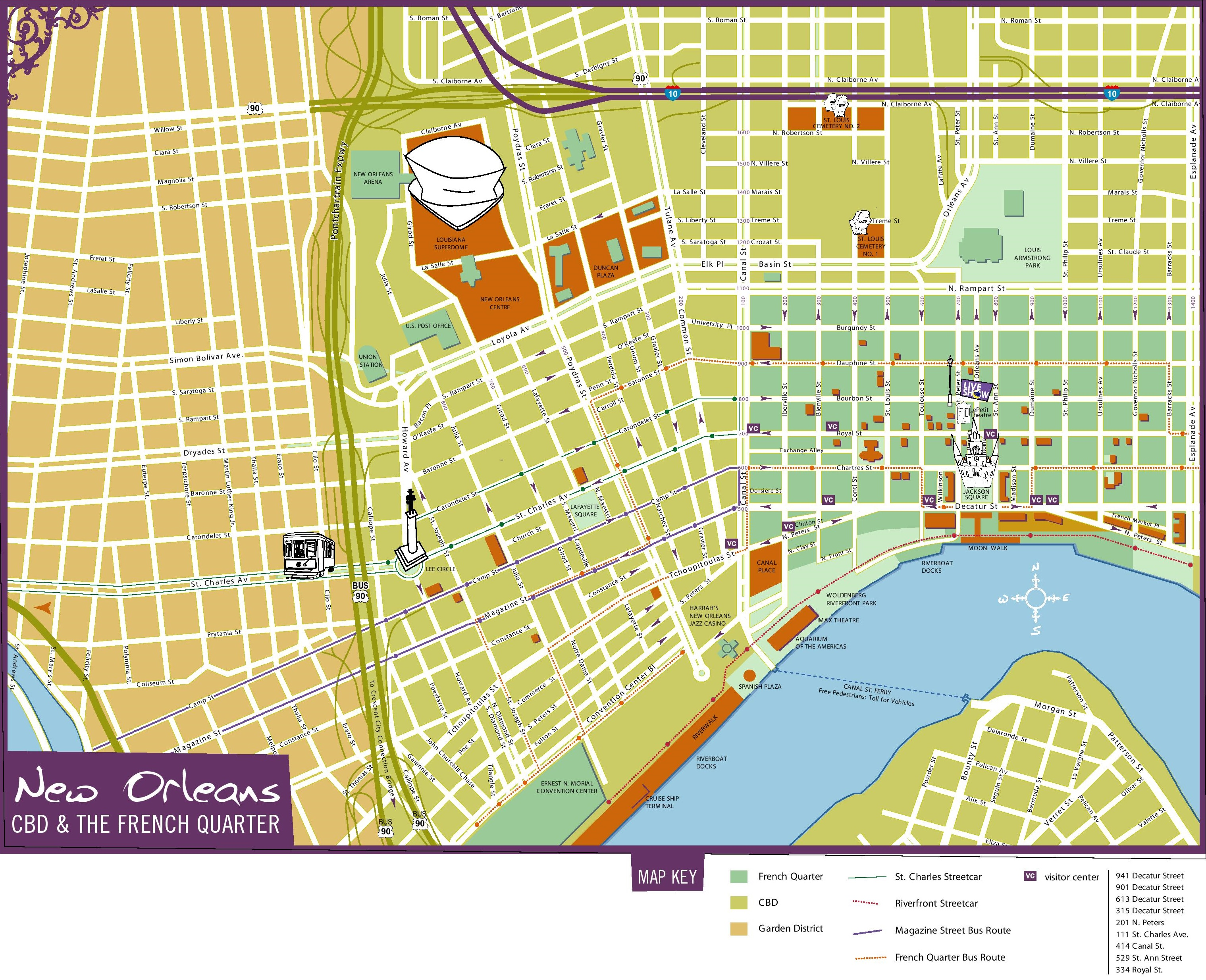 New Orleans Maps Louisiana US – New Orleans French Quarter Tourist Map