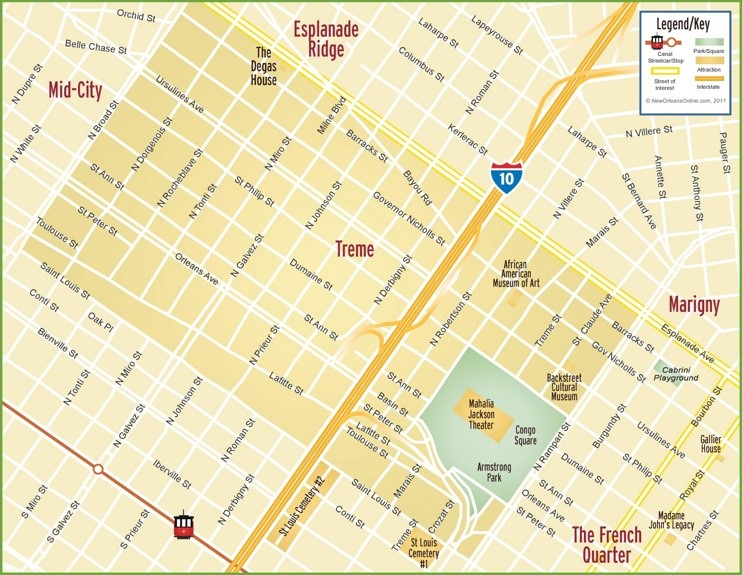 New Orleans Treme map