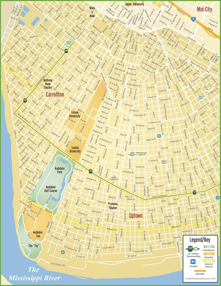 New Orleans Uptown map