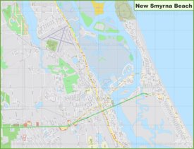 Large detailed map of New Smyrna Beach
