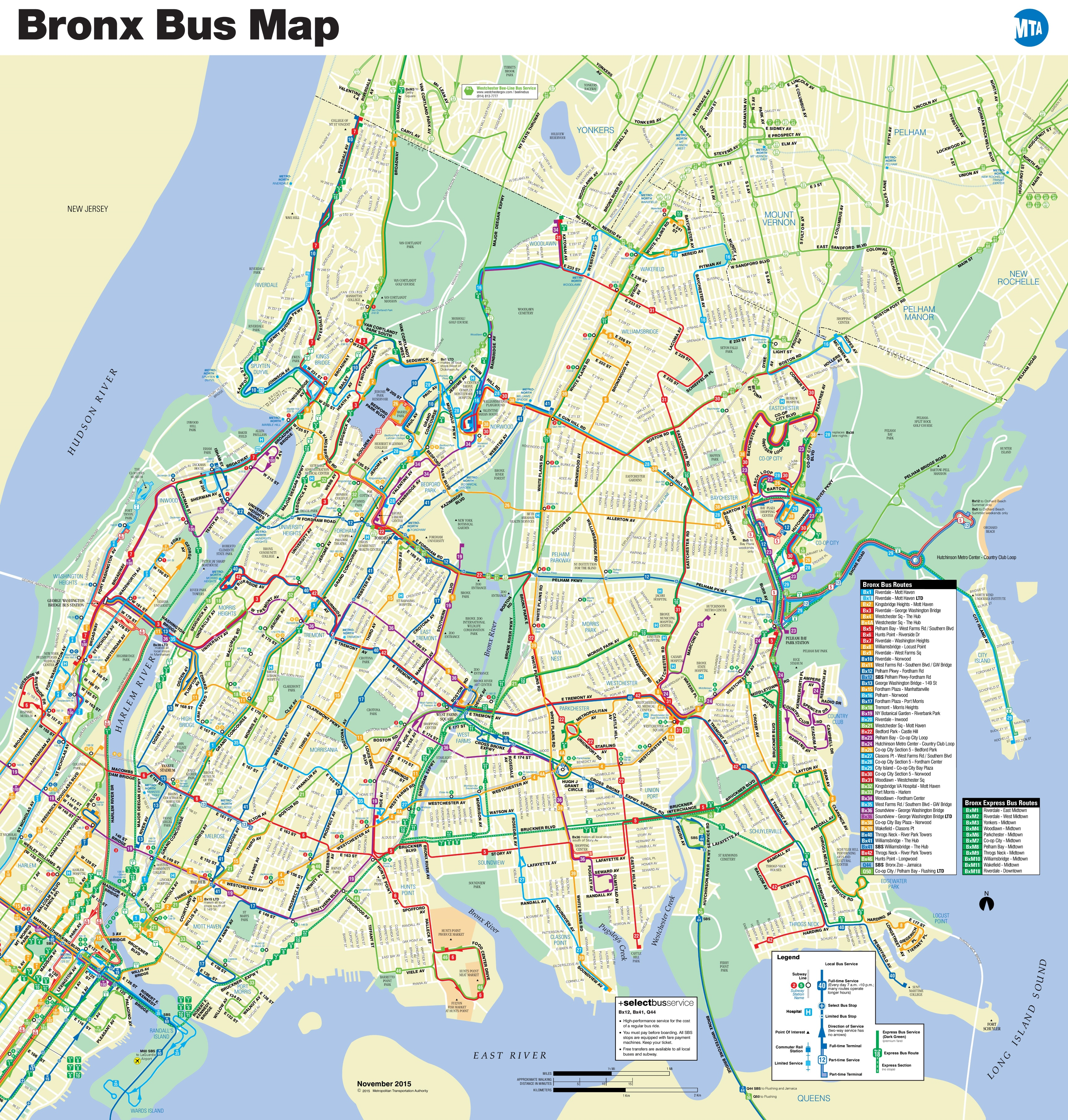 Bronx bus map
