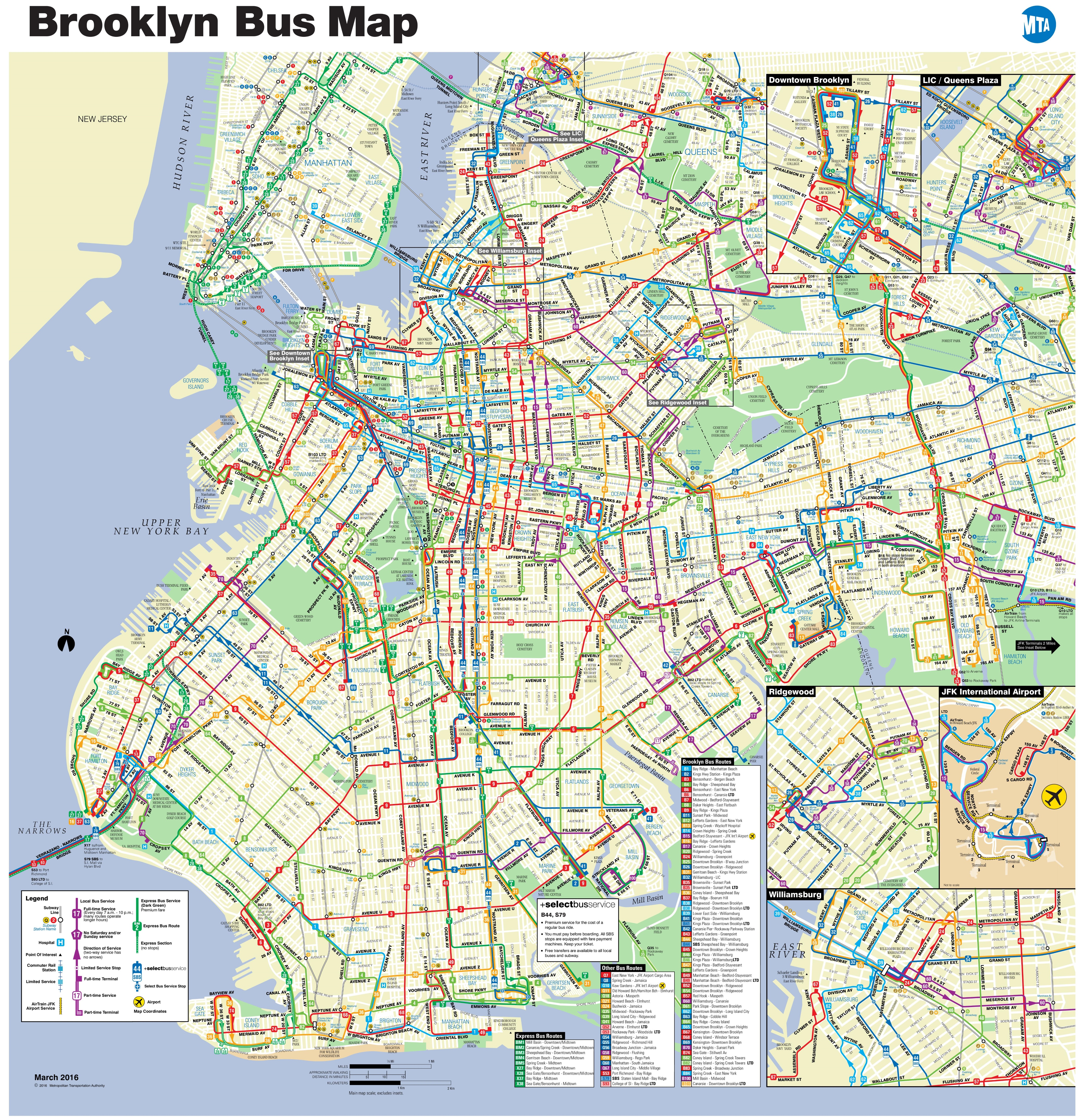 Brooklyn bus map
