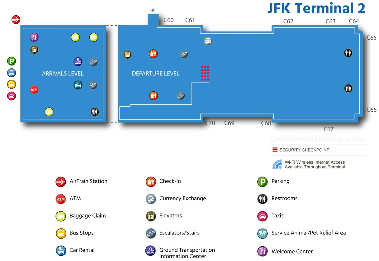 map of jfk terminal 4 Jfk Airport Terminal 2 Map map of jfk terminal 4