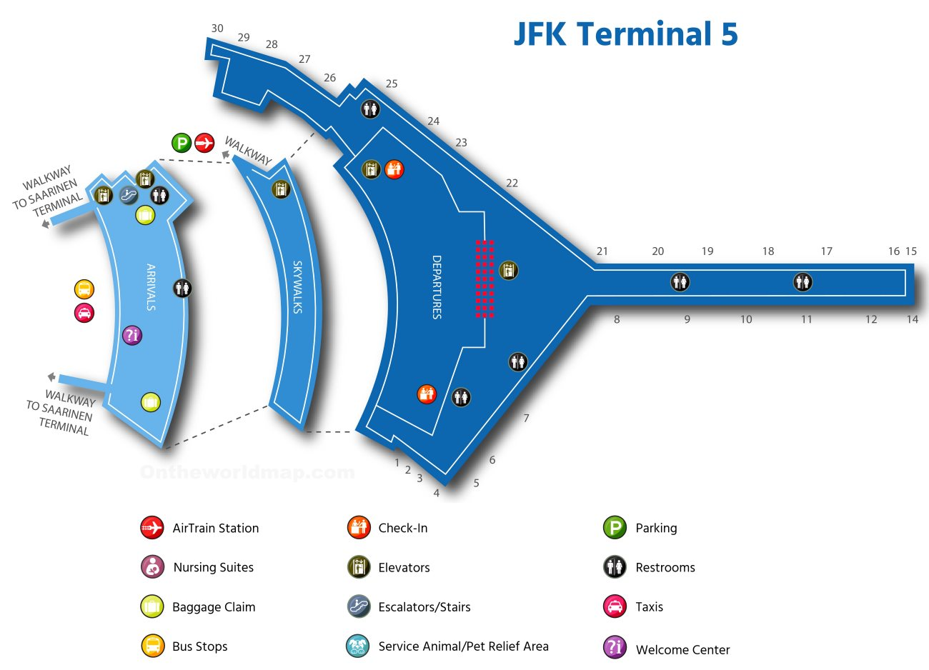 Map Of New York Showing Jfk Airport.Jfk Airport Terminal 5 Map