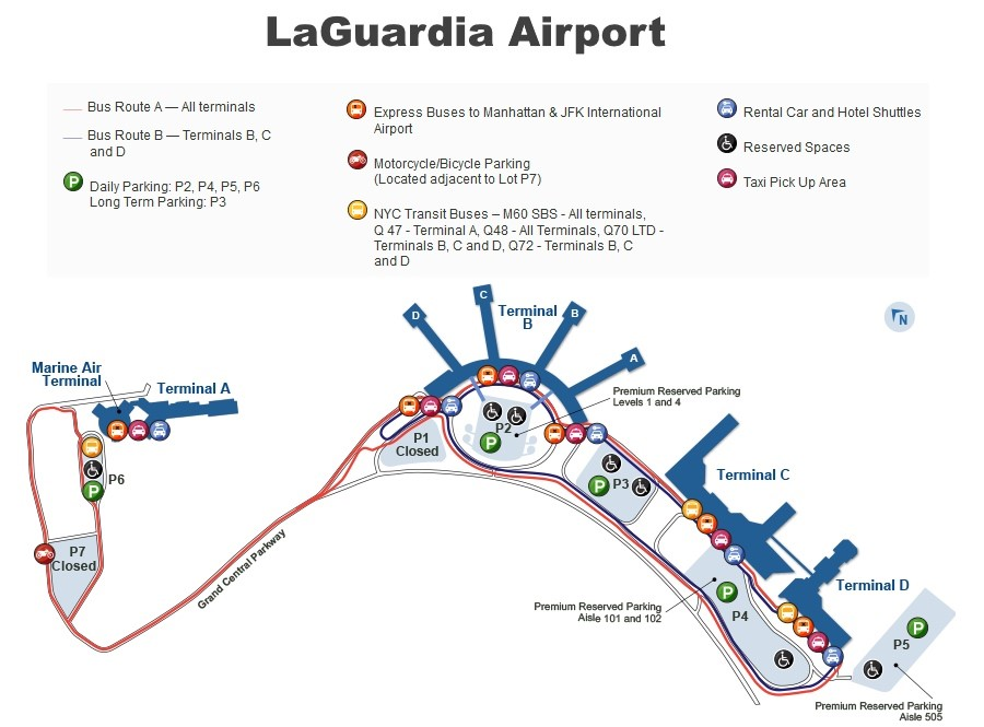 Columbus Airport Car Rental >> LaGuardia airport map