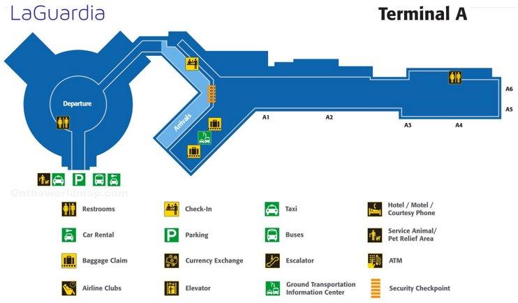 laguardia airport terminal a map