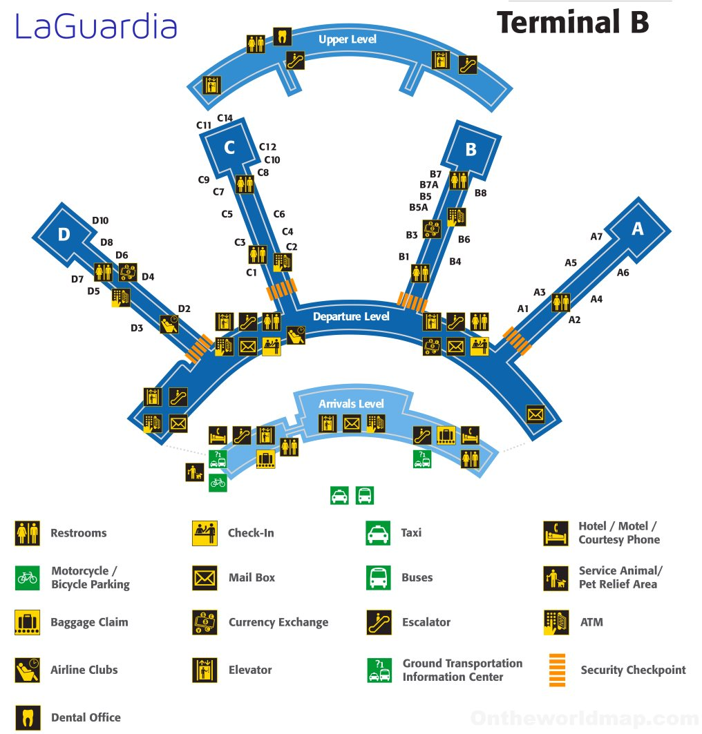 new york lga airport map Laguardia Airport Terminal B Map new york lga airport map