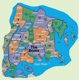 Map of Bronx neighborhoods