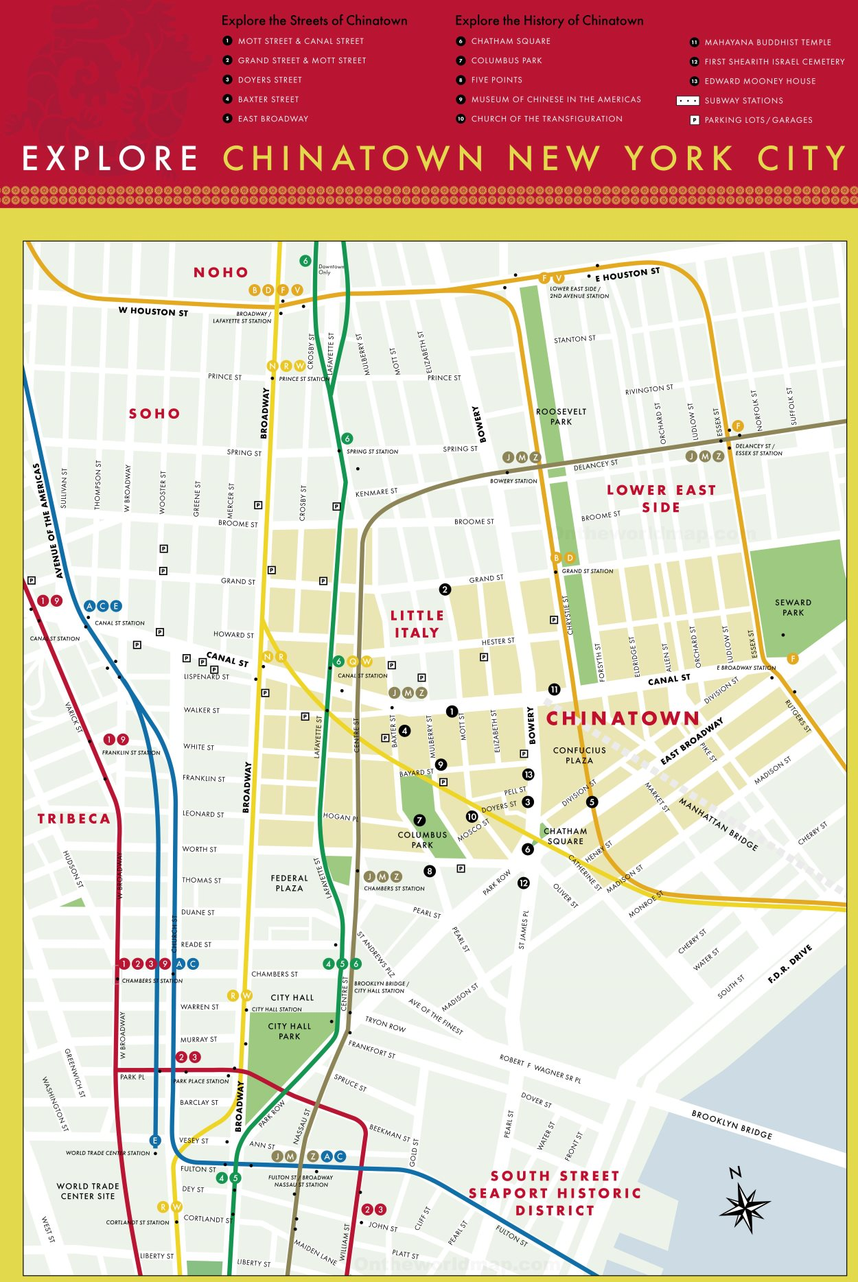 Map of Chinatown (Manhattan, New York City) Chinatown Nyc Map on