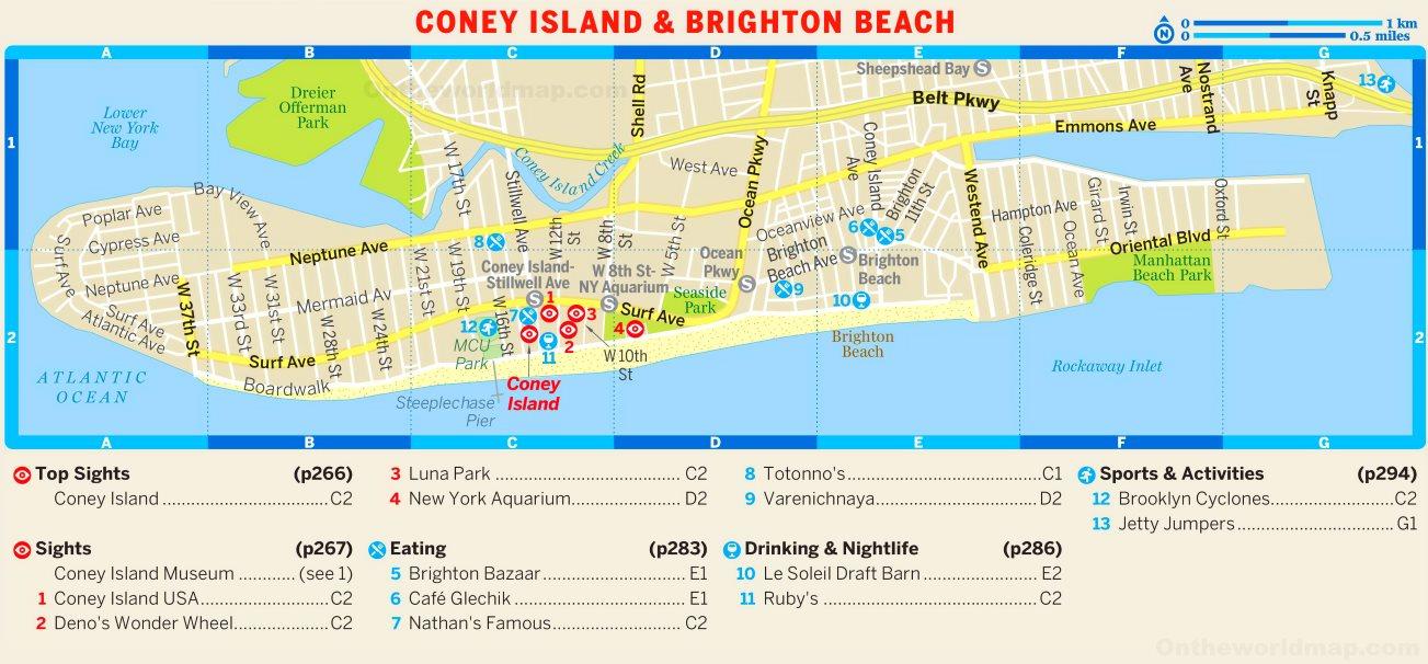 Map Of Coney Island And Brighton Beach