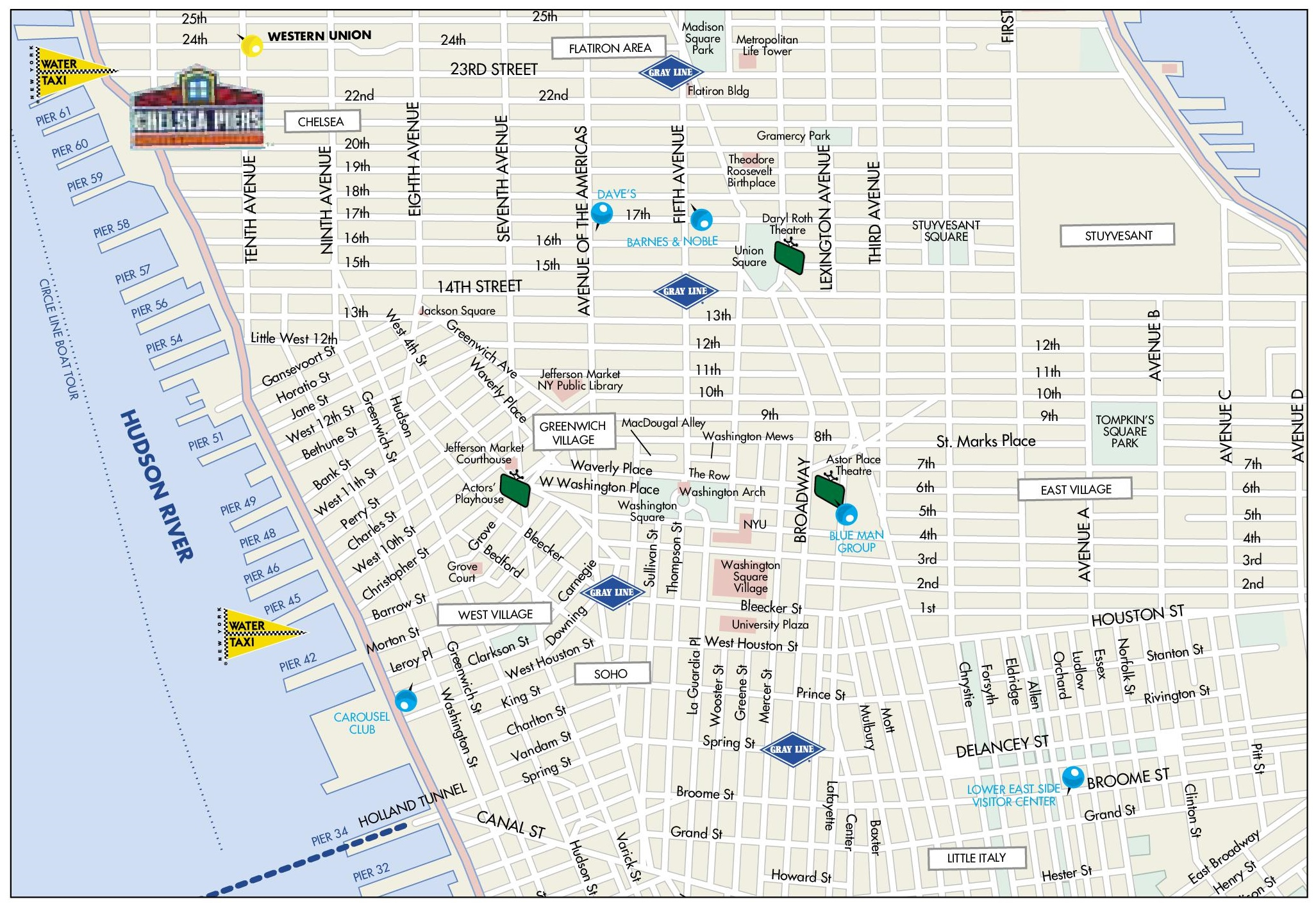 Greenwich Village Map Map of Greenwich Village, Chelsea, Soho and Little Italy