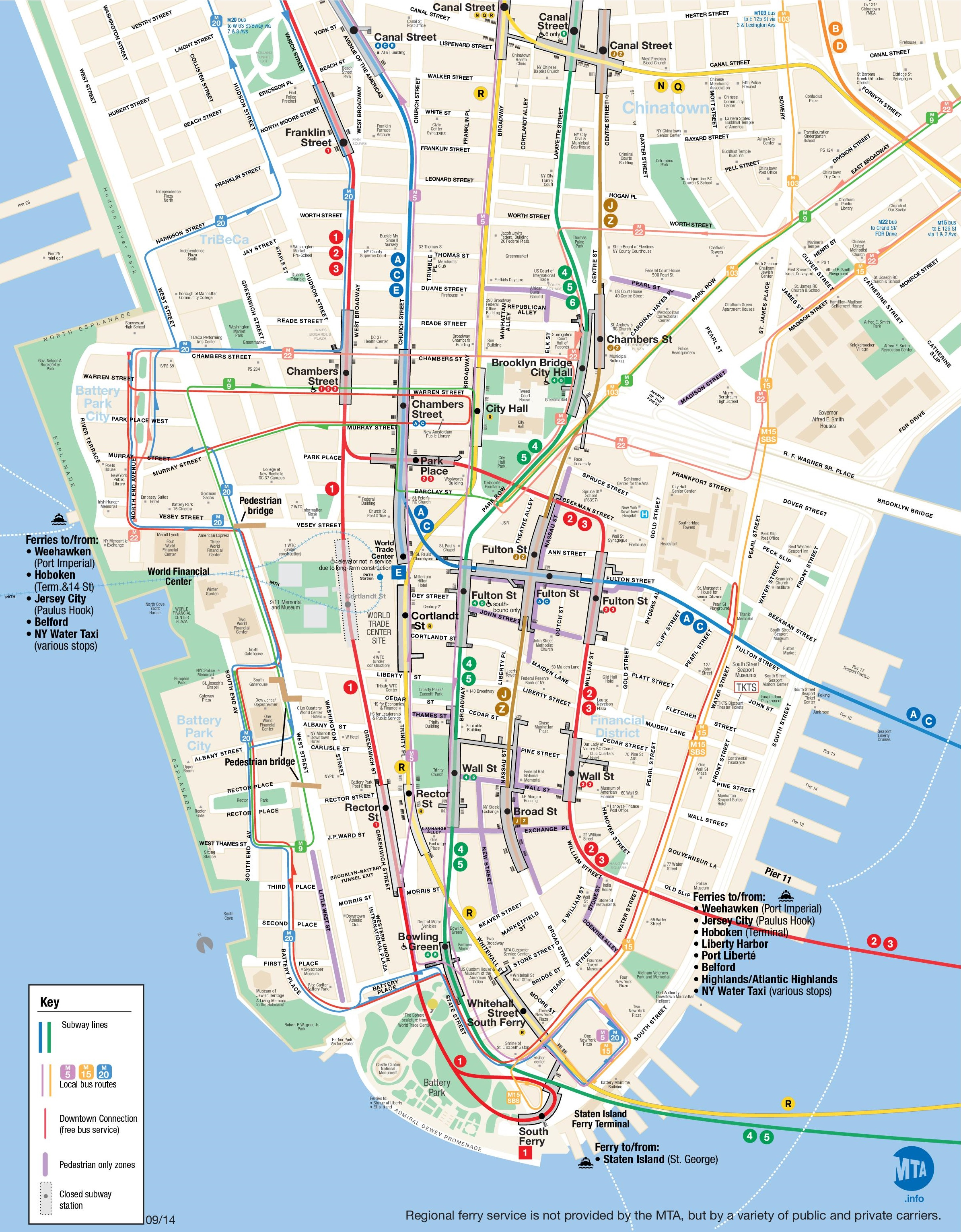 Downtown Manhattan Map Map of Lower Manhattan
