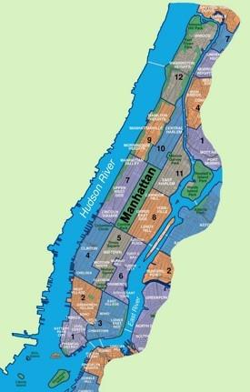 Map of Manhattan neighborhoods