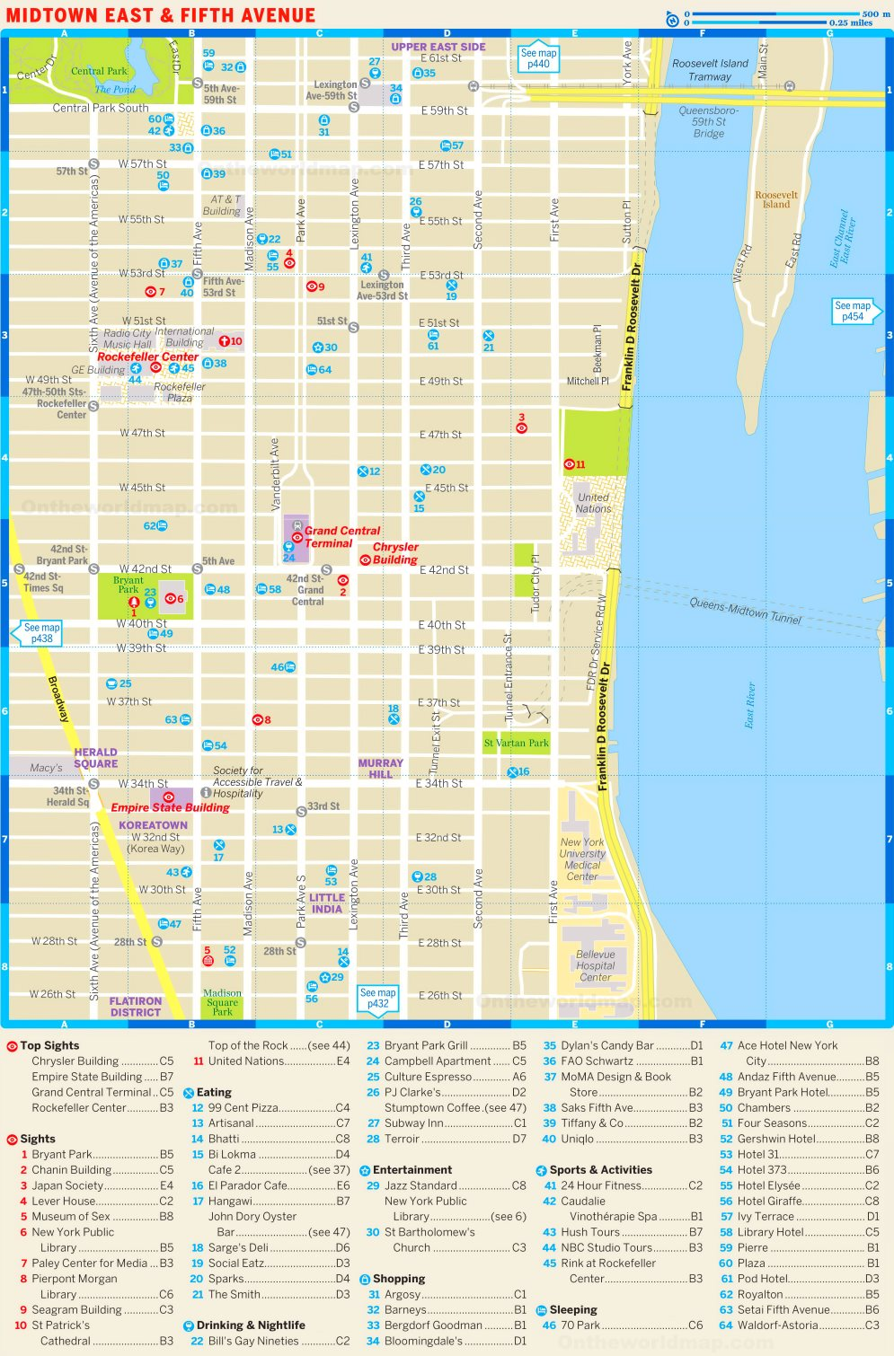 Map of Midtown East and Fifth Avenue  Th Avenue Shopping Map on
