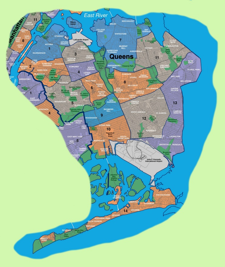 Map of Queens neighborhoods