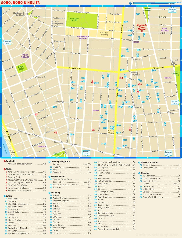 Map Of Soho New York.Map Of Soho Noho And Nolita