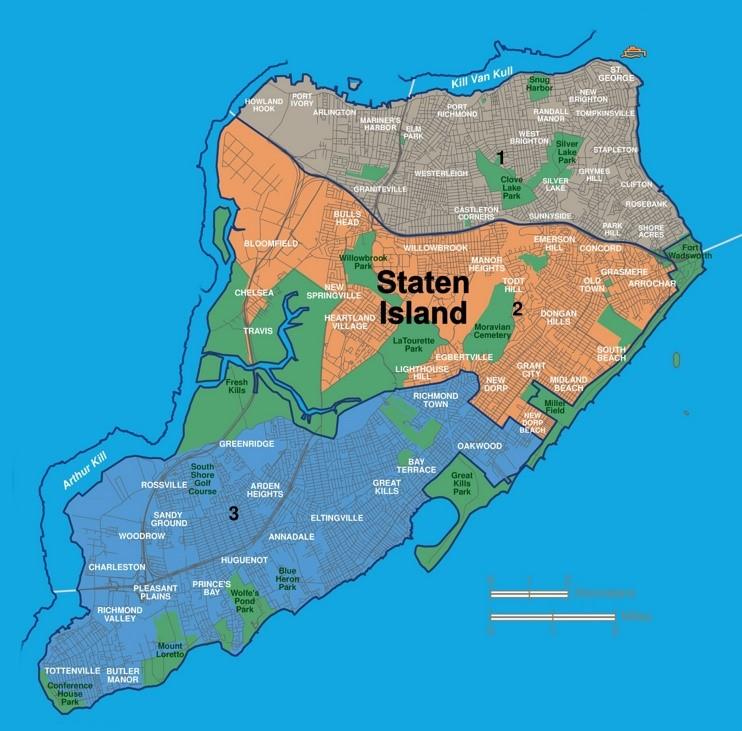 Map of Staten Island neighborhoods