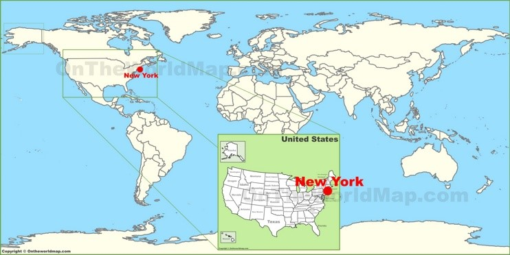 New York City on the World Map