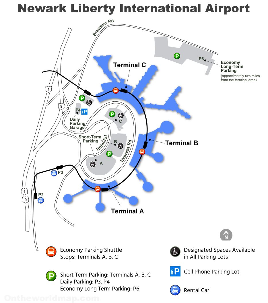 Newark Airport Overview Map