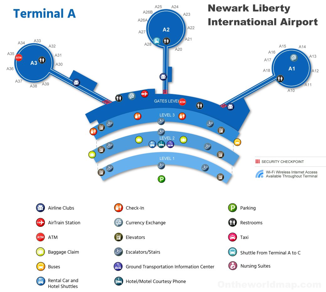 ewr map terminal c Newark Airport Terminal A Map ewr map terminal c