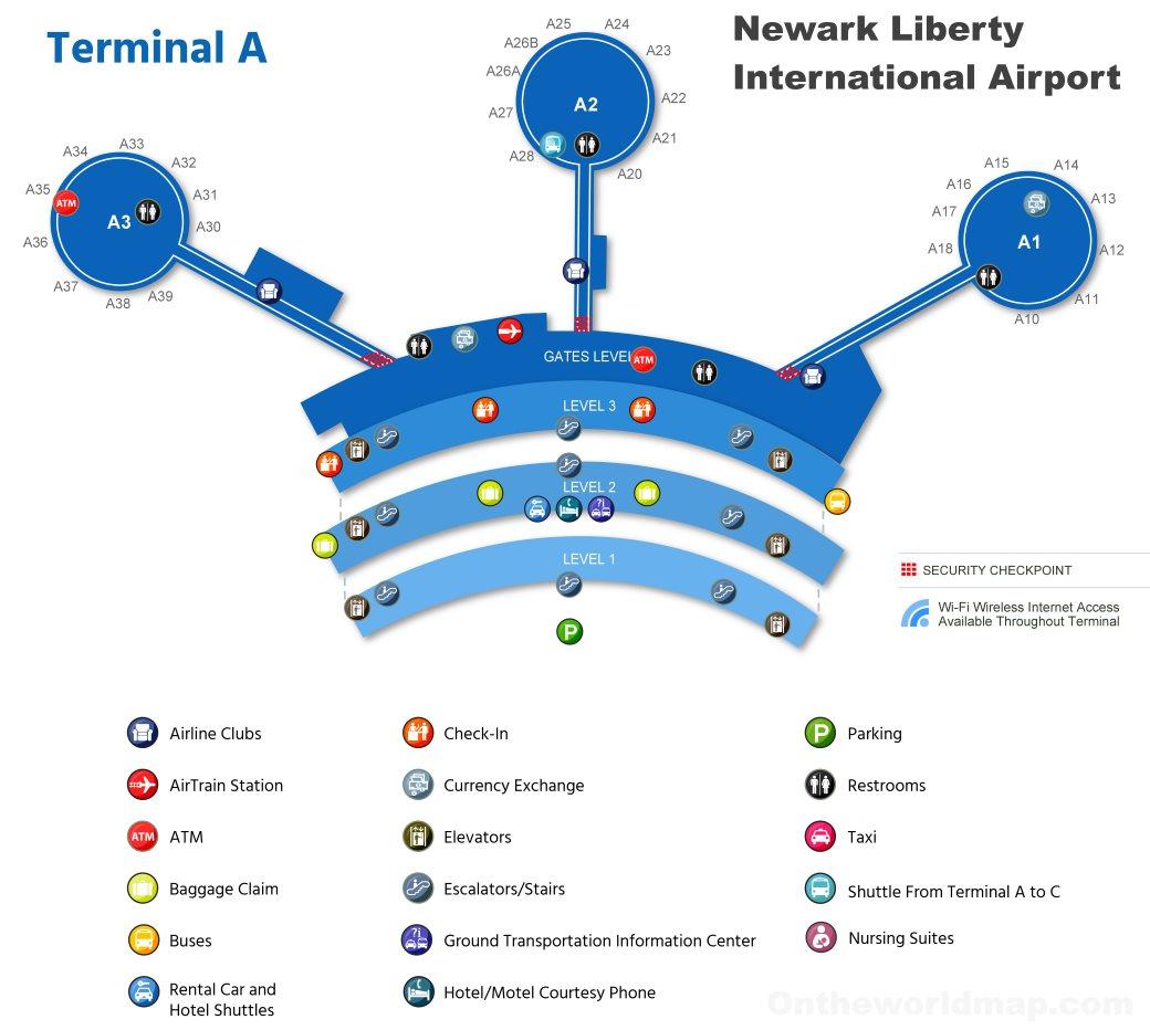 Newark Airport Terminal A Map